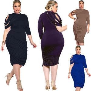Plus Size Dress L-3XL Women Casual Bodycon Dress (A133)