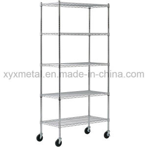 Chrome Metal Movable Wire Shelving Handcart pictures & photos