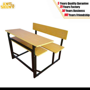 Wooden Double Students Seats Table and Chair for Education pictures & photos