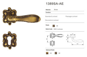 Deluxe Solid Brass Door Handles and Locks (1389SA-AE)