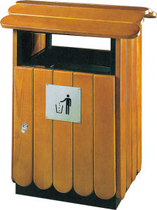 Wooden Outdoor Dustbin with One Inside Bin (HW-76) pictures & photos