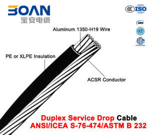 Duplex Service Drop Cable with ACSR Neutral, Twisted 600 V Duplex (ANSI/ICEA S-76-474) pictures & photos