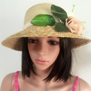 100% Paper Straw Hat, Fashion Contrast Col Style with Flowers Decoration pictures & photos