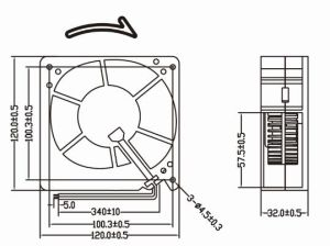 High Volume 12 Volts Blower Fan 120mm Turbo Fan 120X120X32mm pictures & photos