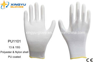 Polyester Shell PU Coated Safety Work Glove (PU1101) pictures & photos