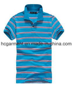 Short Sleeve Blue Cotton Polo for Man, Men′s Strip T-Shirt pictures & photos