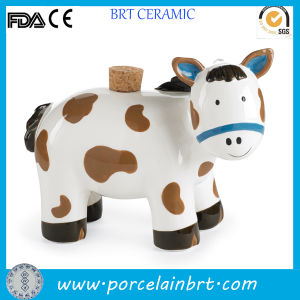 Cute Horse Ceramic Piggy Bank with Wooden Lid pictures & photos
