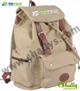 College Real Leather Canvas Backpack