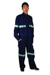 Navy Canvas 100%Polyester 200GSM Mens Work Overall with 4′′ Reflective Tape pictures & photos