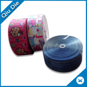 Custom Printed Polyester Woven Ribbon Tape for Gift pictures & photos
