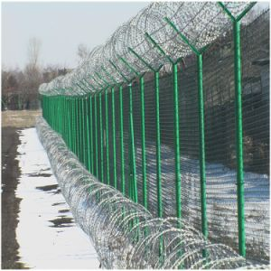 Barbed Wire Topped Galvanized Iron Wire Mesh Fence pictures & photos