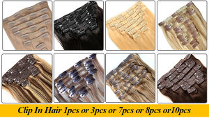 Factory Wholesale Virgin Brazilian Hair Double Weft Full Head Clip on Hair Extension pictures & photos