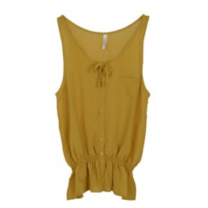 Women Fashion Clothes Chiffon Sleeveless Round Neck Shirt Blouse pictures & photos