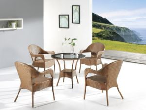 Outdoor Rattan Bar Sets-5PC Outdoor Rattan Dining Set