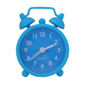 Promotional Blue Soft Silicone Analogue Mini Desk Alarm Clock pictures & photos