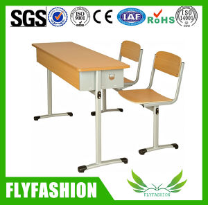 Wooden Middle Double Student Desk and Chair (SF-03D) pictures & photos