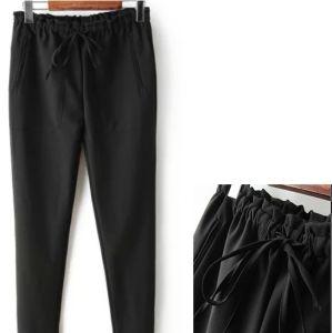 OEM New Arrival Plus Size Elastic Wasiat Black Ladies Pants pictures & photos