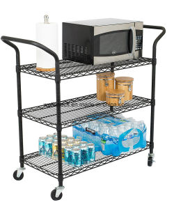 Black Powder Coated 3 Tiers Steel Wire Shelving Utility Cart with Upper Handle pictures & photos