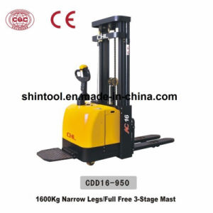 1600kg Electric Pallet Stacker with Lifting Height 3m (CDD16-950) pictures & photos