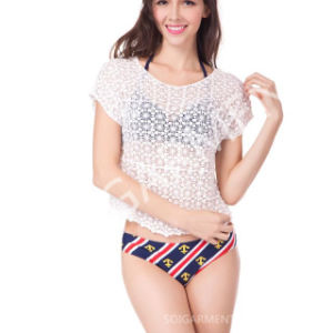 Summer Short Style Short Sleeve Crochet Blouse for Women (BL-261)