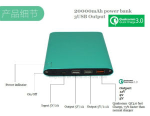 Qualcomm Certified Fast Charge Technology 20000mAh Portable Battery Power Bank pictures & photos