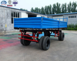 Farm Four Wheel Tractor Trailed Farm Trailer Double Axle Heavy Duty Farm Trailer pictures & photos