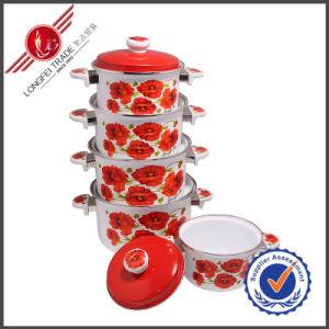 5 PCS Eco-Friendly Beautiful Cast Iron Enamel Cookware Set with Lid pictures & photos