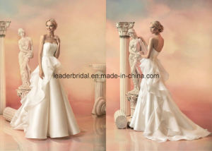 Tiered A-Line Bridal Gowns Satin Court Train Wedding Dresses Z2005 pictures & photos