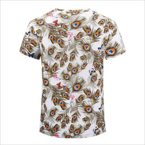 Round Collar Peacock Feather &Butterfly Graphic Short Sleeve Cotton Casual Tee pictures & photos