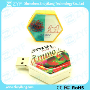 Hexagon Shape Plastic USB Stick with Epoxy Sticker Logo (ZYF1236)