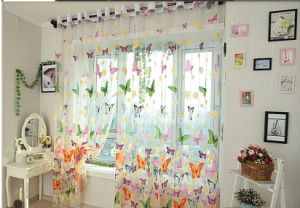 Rustic Window Screening Customize Finished Products Balcony Butterflies Tulle Curtain Panel pictures & photos