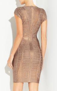 Luxury Golden Foil Slim Bandage Evening Dress pictures & photos