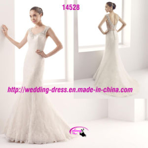 Beautiful Lace V-Neckline Bridal Dress with Cap Sleeve pictures & photos