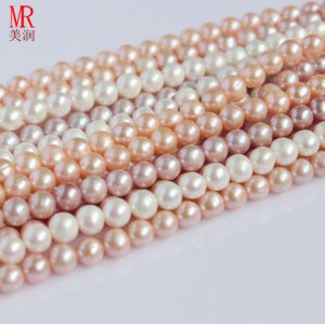 8-9mm Round Cultured Freshwater Pearls Strands Wholesale, Pearl Material pictures & photos