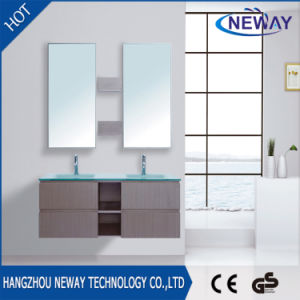 New Melamine Double Modern Bathroom Furniture with Glass Basin pictures & photos