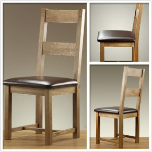 Solid Oak Dining Chair with SGS Wooden and PU Leather Chair