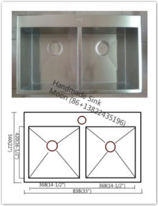 Stainless Steel Topmount 50/50 Handmade Kitchen Sink Farmhouse Sink with Cupc Sink pictures & photos