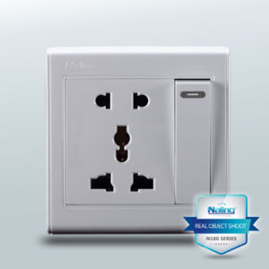 1 Gang Switch Socket with 2 Pin Us & 3 Pin Multi (1 way)