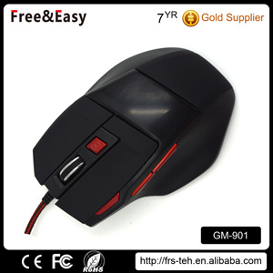 Soft Touch Black Braided Cable USB 7D Gaming Mouse pictures & photos