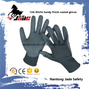 13G Nitrile Sandy Finish Coated Work Glove pictures & photos