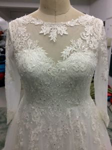 Princess Plus Size Long Sleeve Lace Wedding Gown for Bride pictures & photos