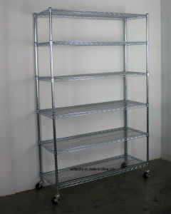 "NSF 6-Layer Multi-Purpose & Heavy Duty Commercial Steel Wire Shelving Rack with 3"" Screw Rubber Wheels -120X45xh180cm pictures & photos"