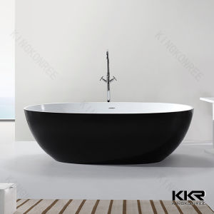 Bowl Shape Tub White Oval Resin Stone Bathtub Hot Tubs pictures & photos