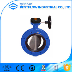 Flange End Manual Rubber Seal Butterfly Valve pictures & photos