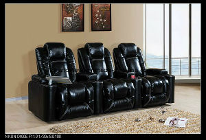 Row of 3 Black Leather Sofa Electric Recliner Chair Home Theater Seating pictures & photos