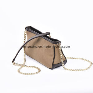 Elegant Canvas Metal Chain Shoulder Bag with Genuine Leather Trim pictures & photos