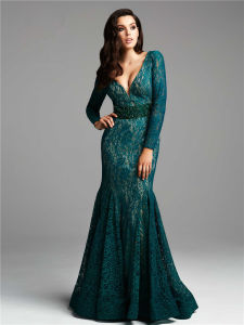 Green Mother Dress Long Lace Party Evening Gowns B42 pictures & photos