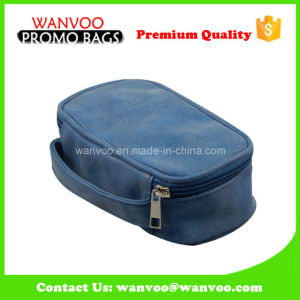 Branded Blue PU Waterproof Hanging Travel Business Toiletry Bag pictures & photos