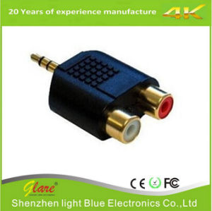 RCA Adaptor Splitter 1 Male to 2 Female Audio AV Plug pictures & photos