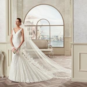 Custom Made V-Neck Mermaid Lace Wedding Dress 2017
